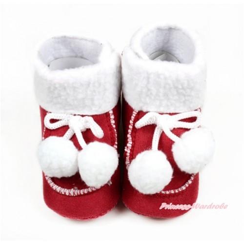 Red Newborn Toddler Baby Crib Boots with White Cherries SB38