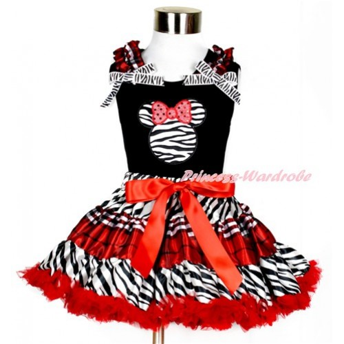 Black Tank Top with Zebra Minnie Print with Red Black Checked Ruffles & Zebra Bows With Zebra Red Black Checked Pettiskirt MG858