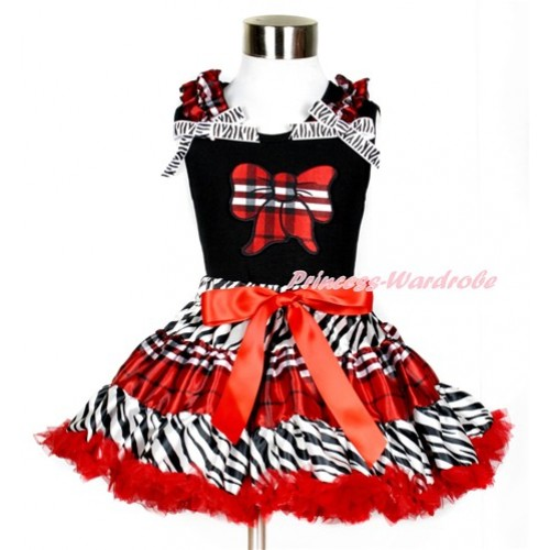 Black Tank Top with Red Black Checked Butterfly Print with Red Black Checked Ruffles & Zebra Bows With Zebra Red Black Checked Pettiskirt MG859