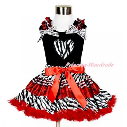 Black Tank Top with Zebra Heart Print with Red Black Checked Ruffles & Zebra Bows With Zebra Red Black Checked Pettiskirt MG861