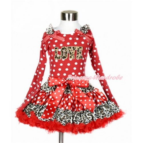Leopard Minnie Dots Red Pettiskirt with Leopard LOVE Print Minnie Dots Long Sleeve Top with Leopard Ruffles and Minnie Dots Bow MW367
