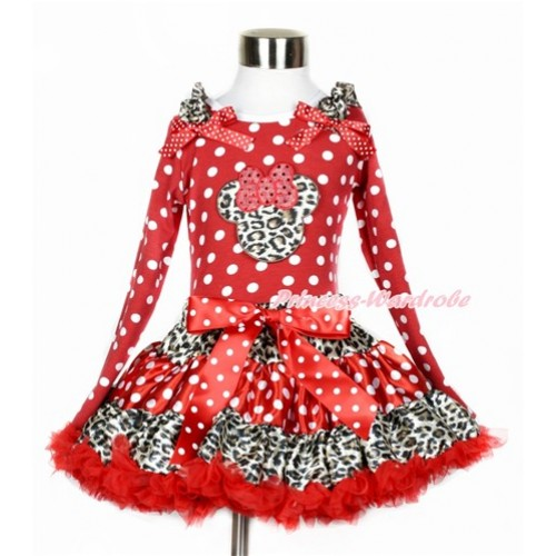 Leopard Minnie Dots Red Pettiskirt with Leopard Minnie Print Minnie Dots Long Sleeve Top with Leopard Ruffles and Minnie Dots Bow MW368