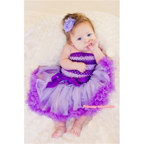 Dark Purple Pink Striped Crochet Tube Top with Lavender Dark Purple Baby Pettiskirt CT493