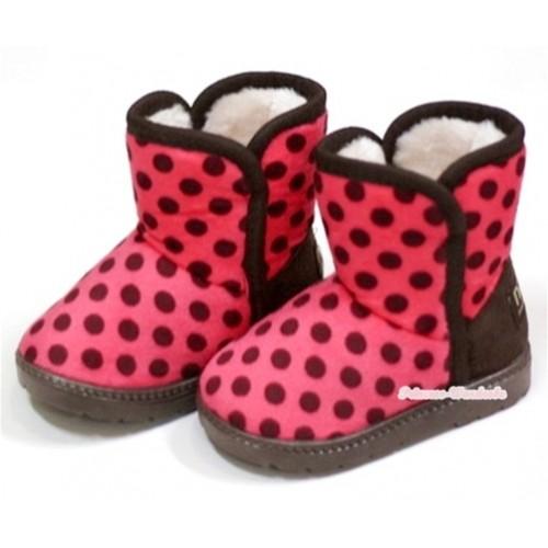 Hot Pink Brown Polka Dots Warm Children Boots SB22