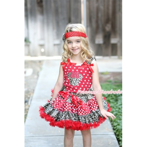 Minnie Dots Tank Top with Leopard Minnie Print with Leopard Ruffles & Red Bow & Leopard Minnie Dots Red Pettiskirt MH143