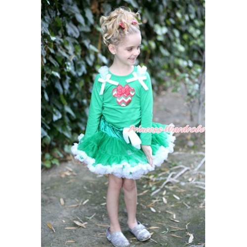 Kelly Green White Pettiskirt with Red White Green Wave Minnie Print Kelly Green Long Sleeves Top with White Ruffles and White Bow MW414