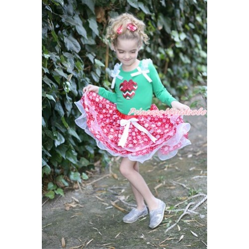 White Bow Red Snowflakes White Petal Pettiskirt with Matching Kelly Green Long Sleeve Top with White Ruffles & White Bow & Red White Green Wave Minnie Print MW415