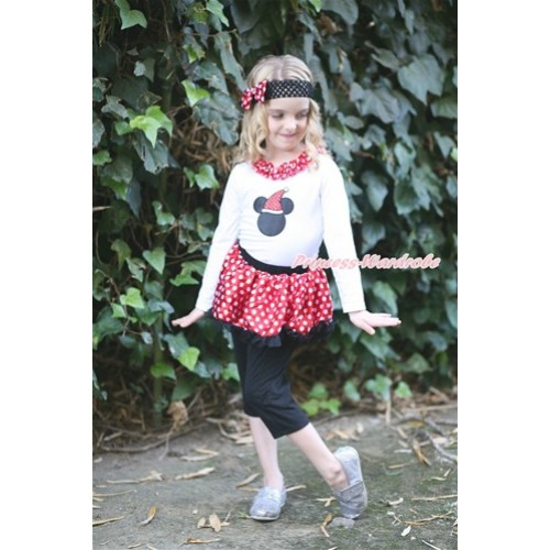 Xmas White Long Sleeves Top with Christmas Minnie Print With Minnie Dots Lacing With Minnie Dots Black Pettiskirt Matching Black Leggings Culottes High Elastic Pant Twinset P007
