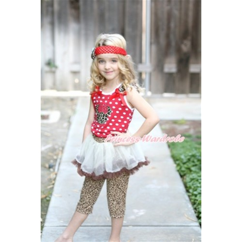 Minnie Dots Tank Top With Leopard Minnie With Leopard Ruffles & Red Bow With White Brown Pettiskirt Matching Leopard Leggings Culottes High Elastic Pant Twinset P009