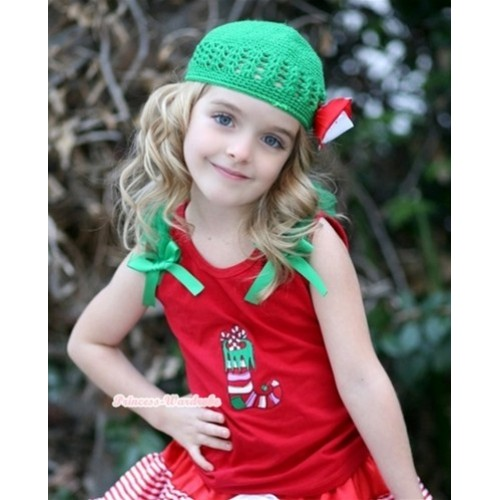 Christmas Stocking Print Red Tank Top with Kelly Green Ruffles and Kelly Green Bow T603