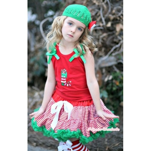 Red White Striped mix Christmas Pettiskirt & Christmas Stocking Print Red Tank Top with Kelly Green Ruffles and Kelly Green Bow CM122