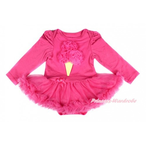 Hot Pink Long Sleeve Baby Bodysuit Jumpsuit Hot Pink Pettiskirt With Hot Pink Rosettes Ice Cream Print JS2463