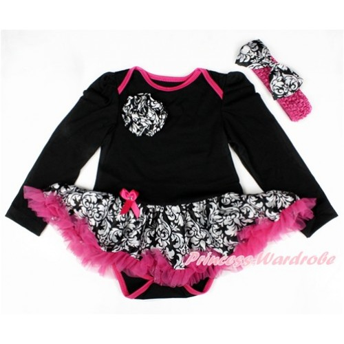 Black Long Sleeve Baby Jumpsuit Damask Hot Pink Pettiskirt With One Damask Rose With Hot Pink Headband Damask Satin Bow JS2509