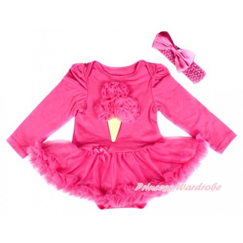 Hot Pink Long Sleeve Baby Bodysuit Jumpsuit Hot Pink Pettiskirt With Hot Pink Rosettes Ice Cream Print & Hot Pink Headband Hot Pink Satin Bow JS2514