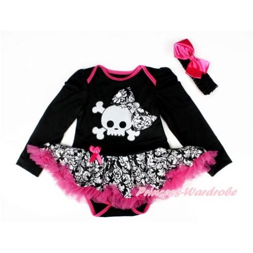 Black Long Sleeve Baby Bodysuit Jumpsuit Damask Hot Pink Pettiskirt With Damask Bow & White Skeleton Print & Black Headband Hot Pink Silk Bow JS2543