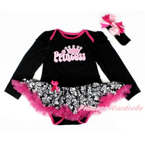 Black Long Sleeve Baby Bodysuit Jumpsuit Damask Hot Pink Pettiskirt With Princess Print & Black Headband Light Hot Pink Screwed Ribbon Bow JS2546