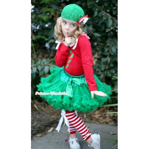 Kelly Green Pettiskirt with Matching Christmas Stick Print Red Long Sleeves Top with Red White Striped Ruffles & White Bow & Red White Striped Leg Warmers with White Bow MB26