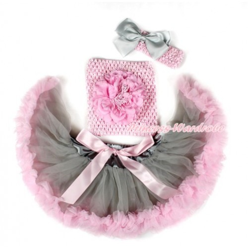 Grey Light Pink Mixed Baby Pettiskirt, Light Pink Peony Light Pink Crochet Tube Top,Light Pink Headband Grey Silk Bow 3PC Set CT667