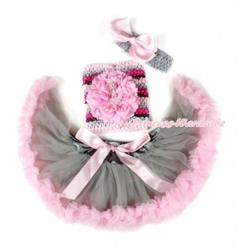 Grey Light Pink Mixed Baby Pettiskirt, Light Pink Peony Hot Pink Rainbow Striped Crochet Tube Top,Grey Headband Light Pink Silk Bow 3PC Set CT668