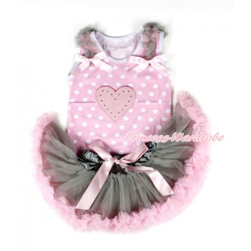 Light Pink White Dots Baby Pettitop with Light Pink Heart Print with Grey Ruffles & Light Pink Bows with Grey Light Pink Newborn Pettiskirt NP039