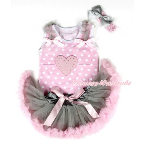 Light Pink White Dots Baby Pettitop with Light Pink Heart Print with Grey Ruffles & Light Pink Bows & Grey Light Pink Newborn Pettiskirt With Light Pink Headband Grey Silk Bow NP046
