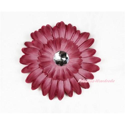 Raspberry Wine Red Crystal Daisy Hair Pin H789