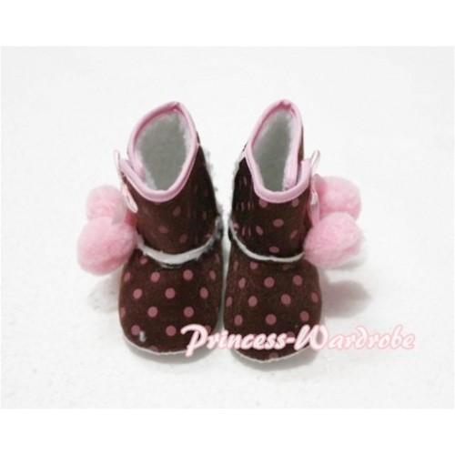 Brown Hot Pink Polka Dot Print Baby Crib Boots with Light Pink Cherries SB14