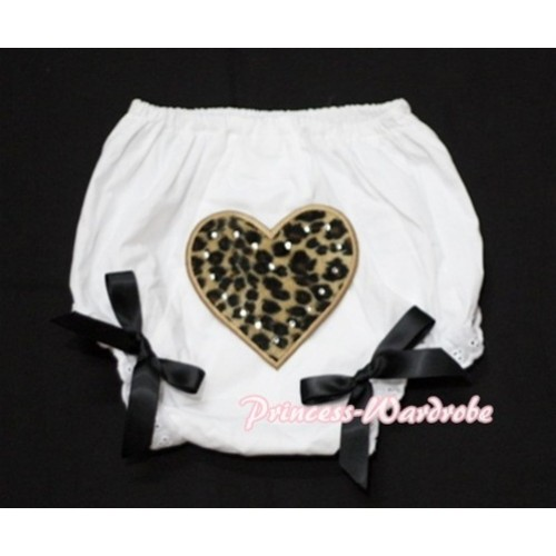 White Bloomers & Leopard Print Heart & Black Bows LD07