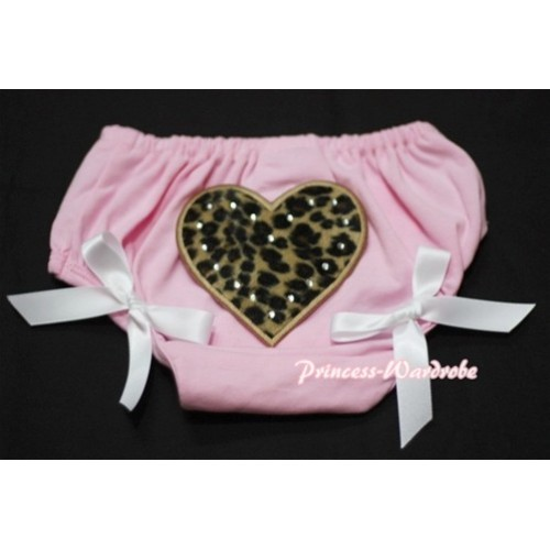 Light Pink Bloomers & Leopard Print Heart & White Bows LD17