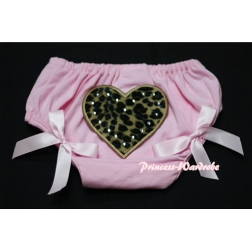 Light Pink Bloomers & Leopard Print Heart & Light Pink Bows LD18