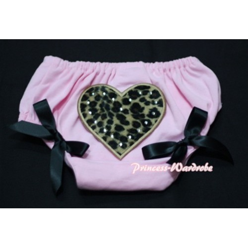 Light Pink Bloomers & Leopard Print Heart & Black Bows LD19