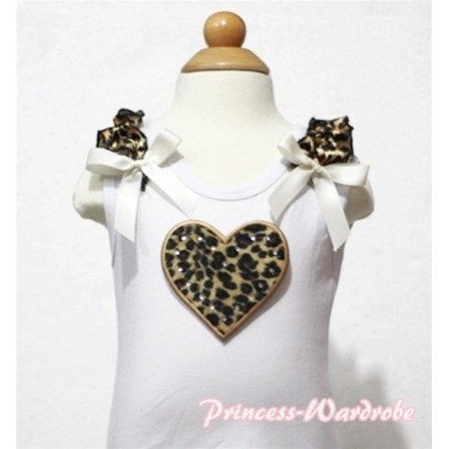 Leopard Heart White Tank Top with Leopard Ruffles and Cream White Bows TB121