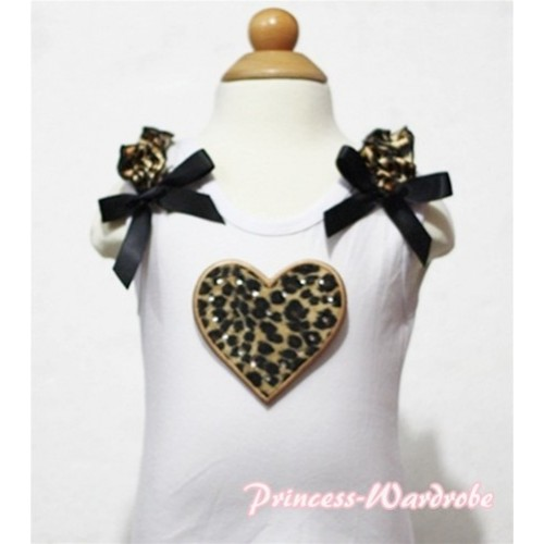 Leopard Heart White Tank Top with Leopard Ruffles and Black Bows TB123