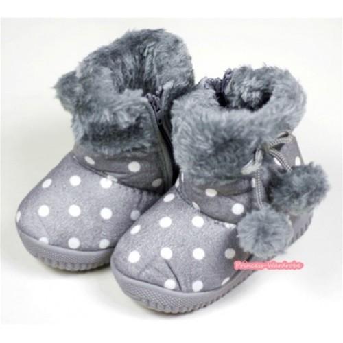 Grey White Polka Dots Warm Children Boots SB29