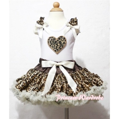 Leopard Heart Print White Tank Top With Leopard Ruffles & Cream White Bows With Cream White Leopard Pettiskirt MM101