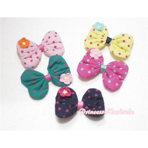 5 Pieces of Cute Polka Dot Bow with Little Flower Hair Clips H190