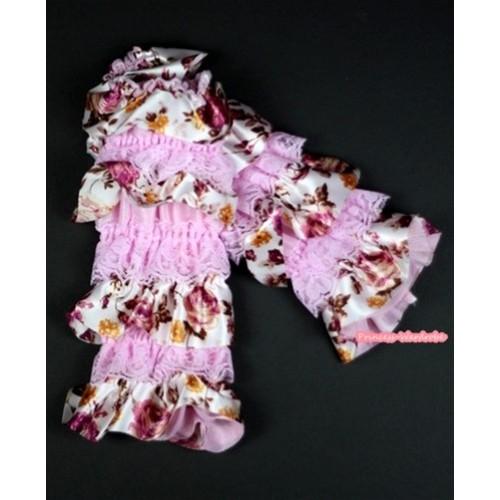 Baby Light Pink & Peony Fusion Print Lace Leg Warmers Leggings LG218