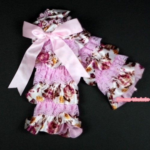 Baby Light Pink & Peony Fusion Print Lace Leg Warmers Leggings with Light Pink Ribbon LG219