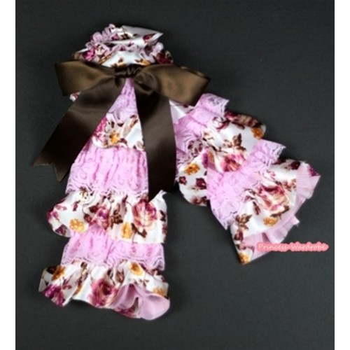 Baby Light Pink & Peony Fusion Print Lace Leg Warmers Leggings with Brown Ribbon LG220