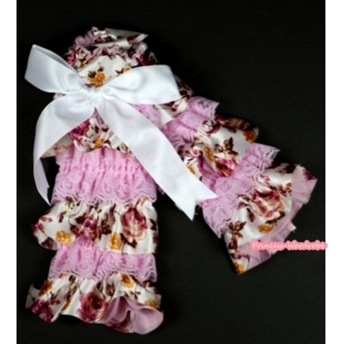 Baby Light Pink & Peony Fusion Print Lace Leg Warmers Leggings with White Ribbon LG221