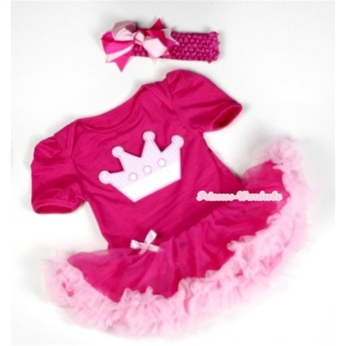 Hot Pink Baby Jumpsuit Hot Light Pink Pettiskirt With Crown Print With Hot Pink Headband Hot Light Pink Ribbon Bow JS033
