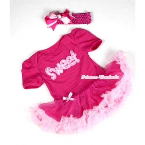 Hot Pink Baby Jumpsuit Hot Light Pink Pettiskirt With Sweet Print With Hot Pink Headband Hot Light Pink Ribbon Bow JS035