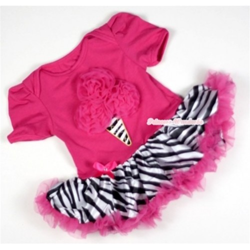 Hot Pink Baby Jumpsuit Hot Pink Zebra Pettiskirt with Hot Pink Rosettes Zebra Ice Cream Print JS076
