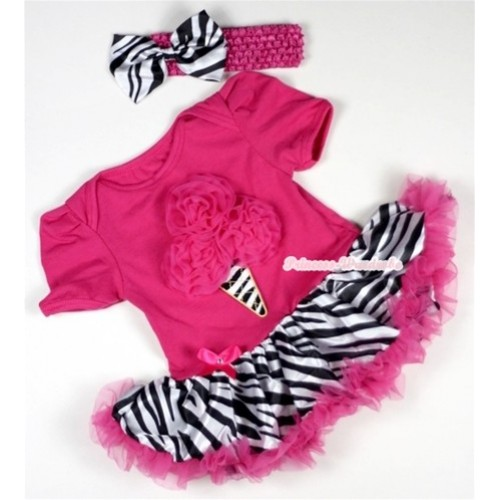 Hot Pink Baby Jumpsuit Hot Pink Zebra Pettiskirt With Hot Pink Rosettes Zebra Ice Cream Print With Hot Pink Headband Zebra Satin Bow JS082