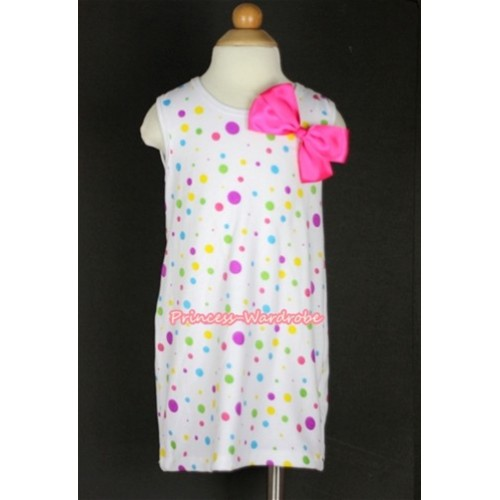 White Rainbow Polka Dots One-Piece Pettidress With Hot Pink Ribbon Bow CD006