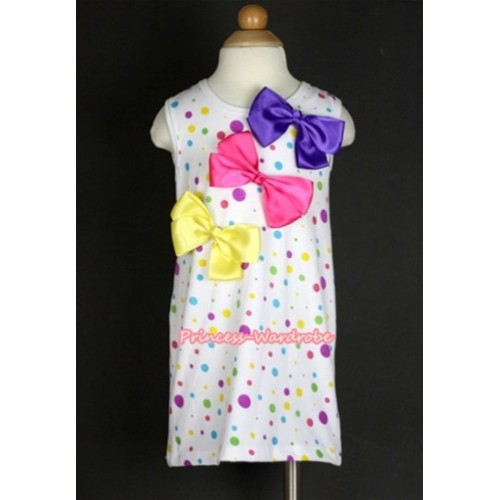 White Rainbow Polka Dots One-Piece Pettidress With Oblique Dark Purple & Hot Pink & Yellow Ribbon Bow CD008