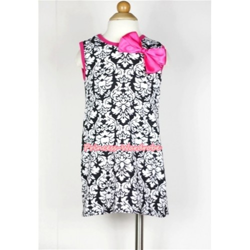 Hot Pink Damask One-Piece Pettidress With Hot Pink Ribbon Bow CD010