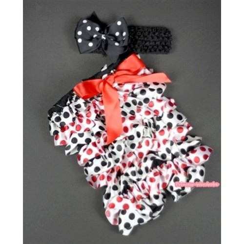 Red Black Polka Dots Petti Romper with Red Bow and Black Headband Black White Polka Dots Bow Set RH94