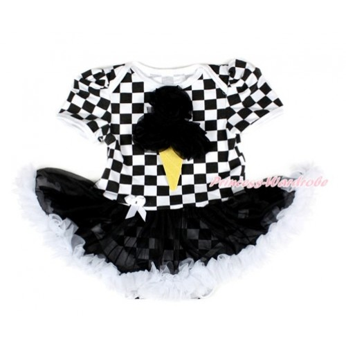 Black White Checked Baby Bodysuit Jumpsuit Black White Pettiskirt with Black Rosettes Ice Cream Print JS2557
