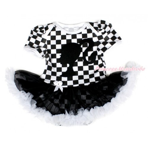 Black White Checked Baby Bodysuit Jumpsuit Black White Pettiskirt with Barbie Princess Print JS2563